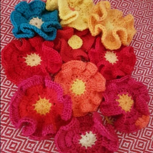 multi coloured crochet flowers